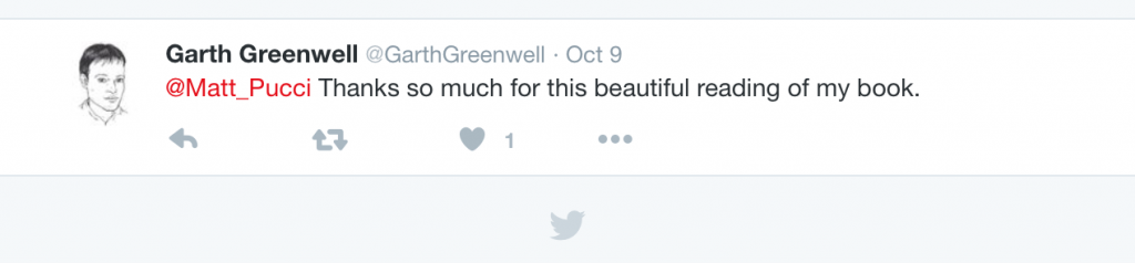 Garth Greenwell Tweet